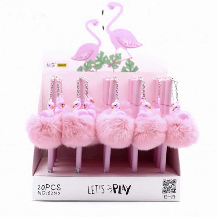 1 Pcs Roze Flamingo Leuke Briefpapier Kawaii School Office Supply Pluizige Gel Pen Briefpapier Creatieve Sweet Pretty Mooie Grappige
