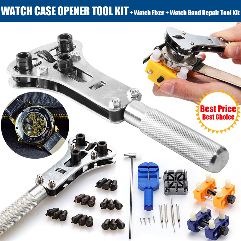 Watch Repair Tool Kit Watchmaker Screw Cover Remover Spring Pin Bars Remover Watch Pin Remover Watch Case Opener Outil Montre D4