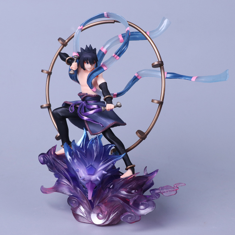 Anime Naruto Figure Shippuden Uchiha Sasuke Raijin PVC Action Figure Collection Model Kids Toys Doll 18CM anime naruto pvc action figure toys q version naruto figurine full set model collection free shipping