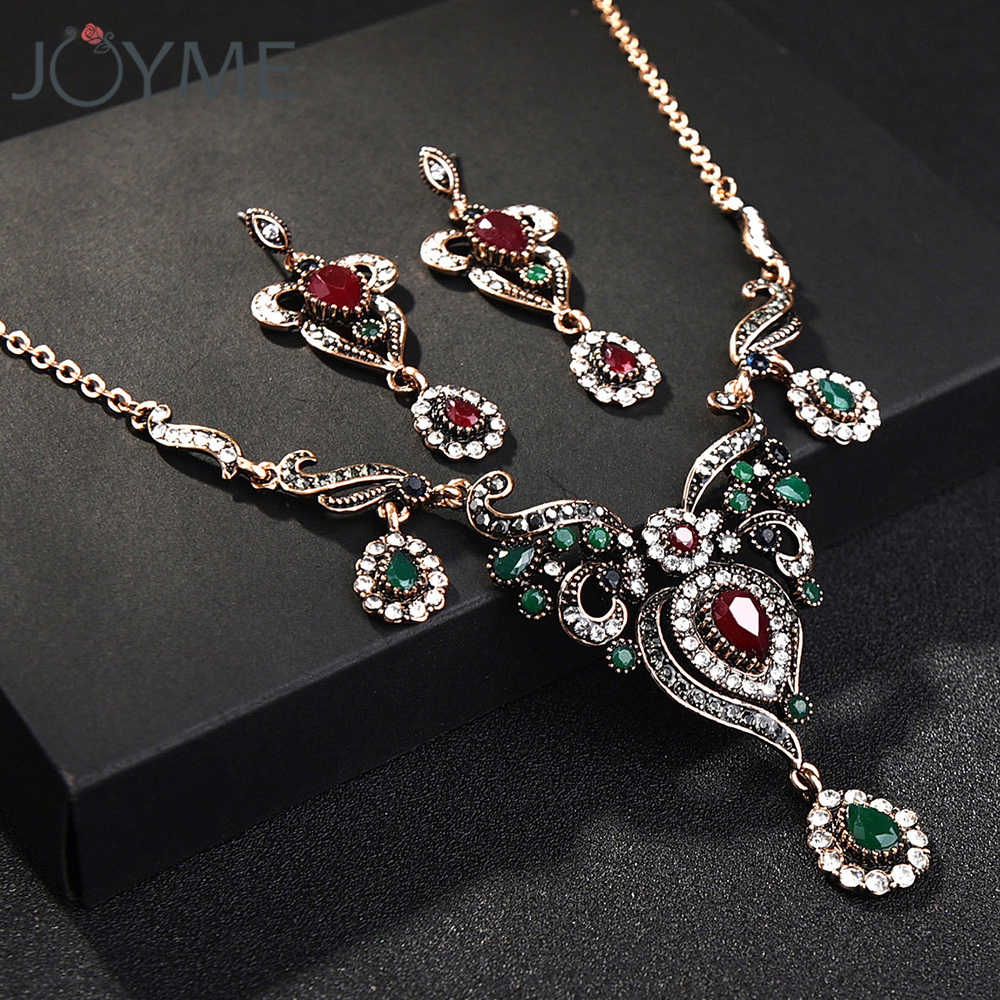 Vintage Turkish Jewelry Sets Green Flower Pendant Colar Gold-color Princess Long Pendientes Necklace Earrings Set for Women