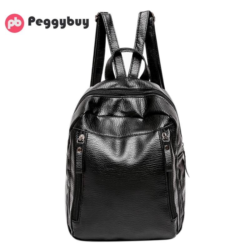 Travel Backpack Korean Women Female Rucksack Preppy Style Leisure Student School Bag Soft PU Leather Simple Women Bag mochila pretty style pure color canvas women backpack college student school book bag leisure backpack travel bag