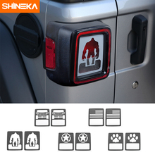 SHINEKA Metal Tail Rear Light Lamp Guards Decoration Cover Trim Panel Frame Sticker Fit for Jeep Wrangler JL 2018+  Car Styling