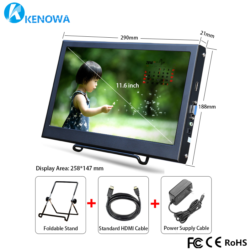 NEW HOT 11.6 Inch 1366 * 768 LCD HD Display VGA Portable Computer Monitor For PS3 XBOX PS4 HDMI LCD Non Touch Screen PC Laptop display 10 4 vga hdmi connector monitor 1024 768 song machine cash register square screen lcd monitor display non touch screen