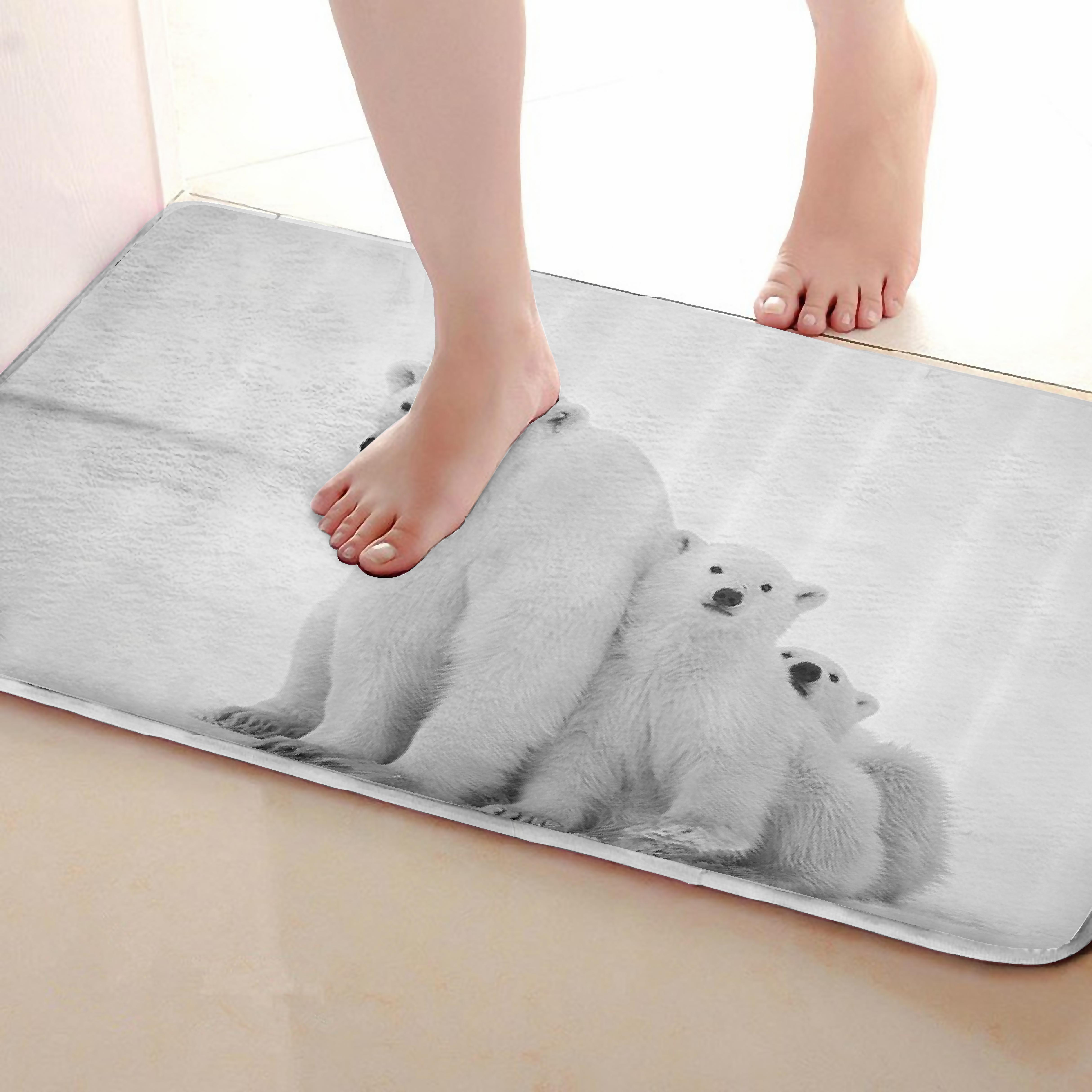 Polar bear Style Bathroom Mat,Funny Anti skid Bath Mat,Shower Curtains Accessories,Matching Your Shower Curtain