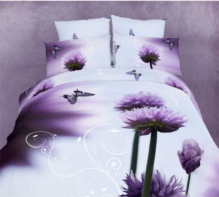 100 Cotton Purple Flowers Butterfly 3d Bedding Set Queen Size 4pcs Comforter Duvet Cover