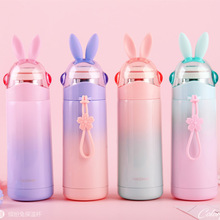 350ML Cute Rabbit Ear Travel Thermos Cup Stainless Steel Vacuum Cup wi