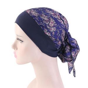 Image 4 - Women Muslim Hijab Caps Bandana Printed Turban Chemo Hats Long Hair Band Head Wrap Islamic Headscarf Hair Loss Hat Arab Fashion