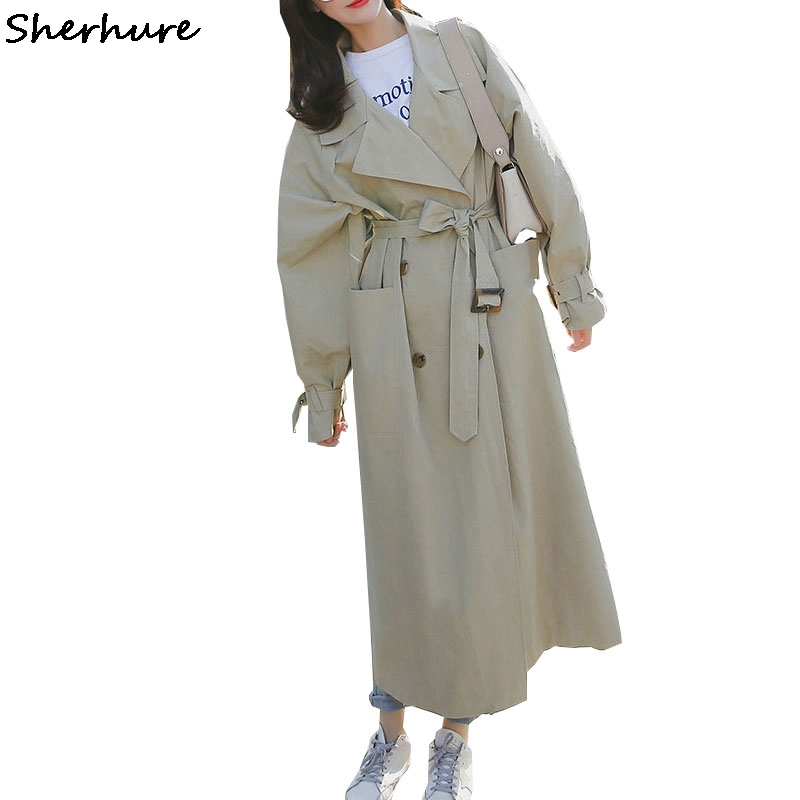 2019 Women   Trench   Coat Turn Down Collar Batwing Sleeve Loose Style Women Long Coat With Belt Casaco Feminino Abrigo Mujer