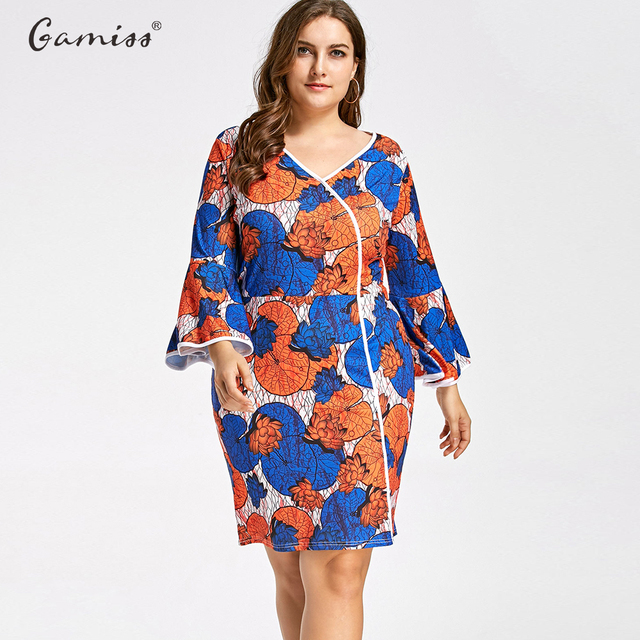 e936d1a7887 Gamiss Plus Size Bell Sleeve Floral Print Mini Bodycon Fashion Women Dress  Slim Tunic Print Floral Dresses Casual Sexy Dress