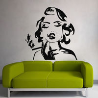 Wall Vinyl Sticker Woman Smoking Marilyn Monroe Decal Home Bedroom Decor