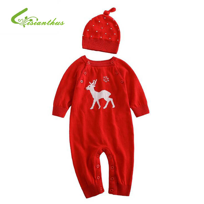 Baby Small Deer Red Rompers Christmas Cartoon Clothes Two Piece Suit With Cap Jumpsuits Warm Long Sleeve Knitted Cotton 2016 New warm thicken baby rompers long sleeve organic cotton autumn
