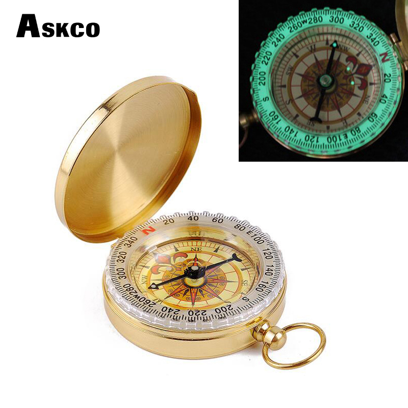 Askco Pointer Classic copper Clamshell Compass portable Waterproof Luminous Compass Camping Hiking Hunting Gear Survival Gear
