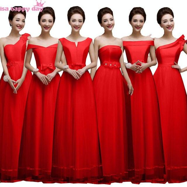 timeless design a065e 4ba80 US $40.94 |Spose formali cameriera tulle bridemaid abito rosso damigella  d'onore di compleanno sexy damigelle d'onore di colore solido in abiti per  ...