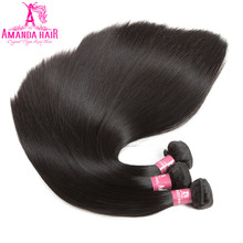 Amanda Brazilian Straight Remy Hair 3 Bundles Deals Natural Color For Hair Salon High Ratio Longest Hair PCT 20%