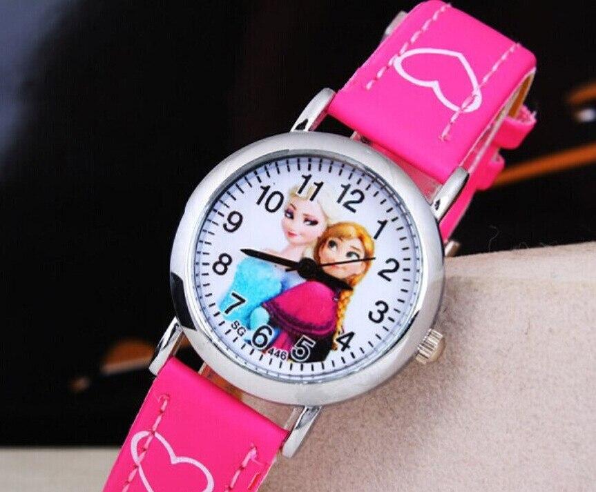 452c69e05a7 2016 Nova Crianças Dos Desenhos Animados Assistir Princesa Elsa Anna  Relógios Moda Infantil Bonito relogio relojes Couro quartz Relógio de Pulso  Presente Da ...