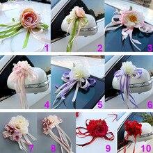 Decoración de puerta de espejo de coche para novia, cinta de seda, flores artificiales para fiesta de boda HG99