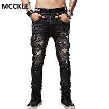 Проблемные разорвал байкер slim винтаж fit мотоцикл джинсы мужские хлопок черный