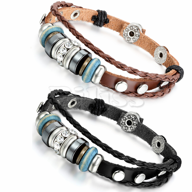 2pcs Mens Womens Leather Bracelet Surfer Wrap Bangle Charm Beads Braided Multilayer Black Brown Pulseira