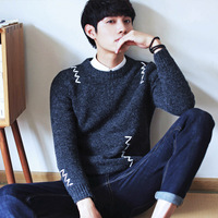 Men's Autumn Wool Knitted Round Collar Sweater Pullovers Jersey With Fashion Decoration Hombre Warm Korean Slim Male Clothing
