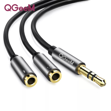QGEEM 3.5mm Audio Splitter Cable for Computer Jack 3.5mm 1 Male to 2 Female Mic Y Splitter AUX Cable Headset Splitter Adapter все цены