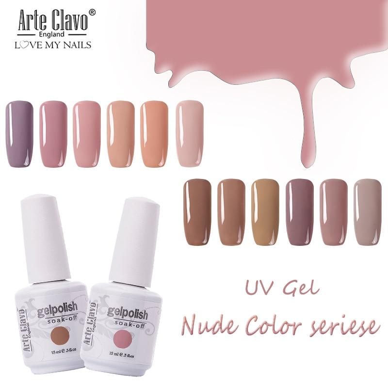 Ультрафиолетовый гель-лак для ногтей Arte Clavo 15 мл, серия гибридных лаков разных телесных цветов, ультрафиолетовый светящийся гель-лак, чистка...