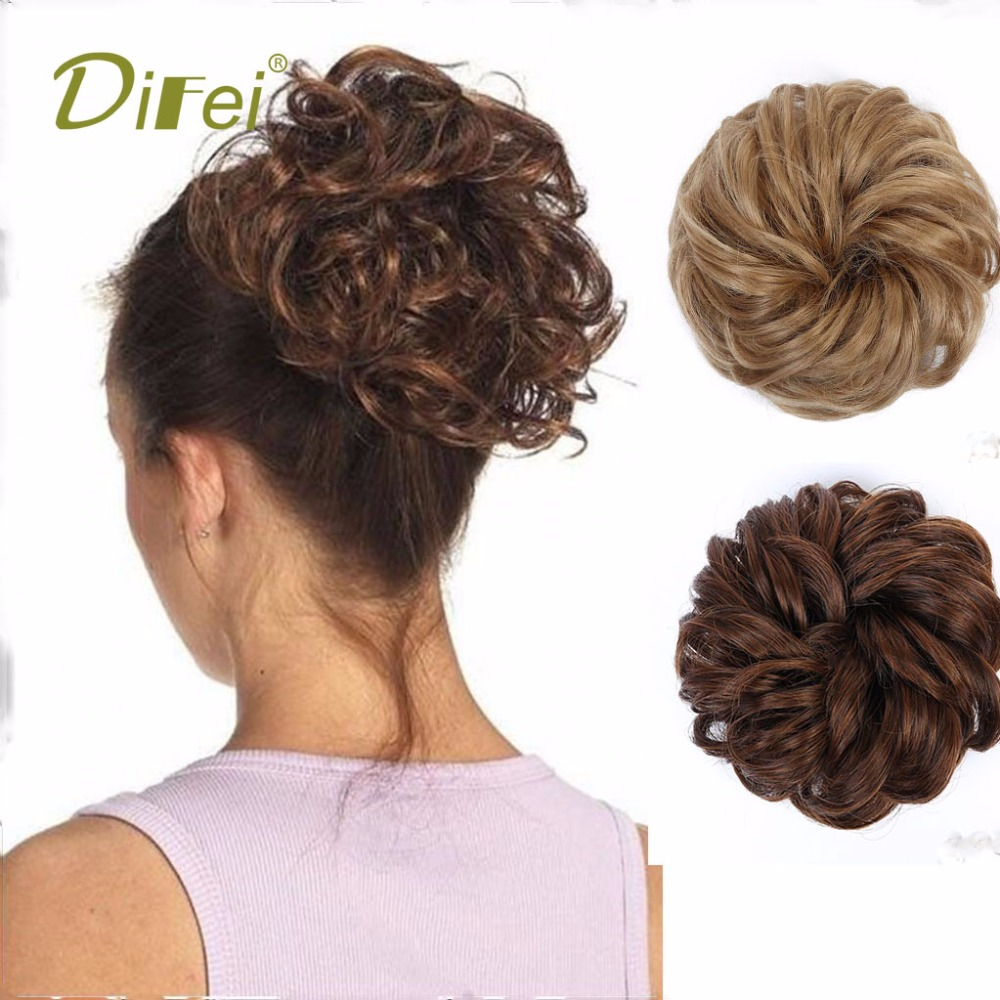 DIFEI Short Chignon High Temperature Fiber Hair Extension Chignon Extension Suitable For ...