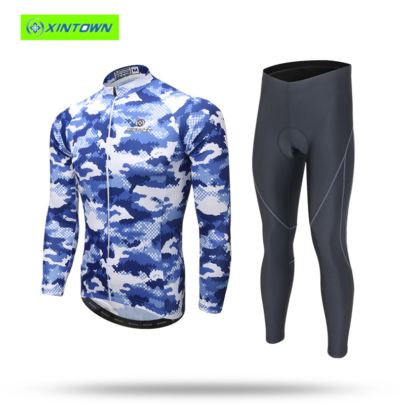 цены  Bike jersey XINTOWN Breathable Quick Dry Anti-sweat Cycling Jersey Clothing Long Sleeve Men With Pad MTB Bike Wear Ropa Ciclismo