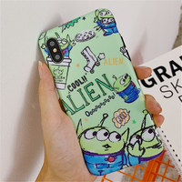 100pcs Case For iPhone XS Max XR X Toy Story Alien TPU Silicone IMD Soft Case For Apple iPhone 8 6 6S 7 Plus Cover Coque fundas