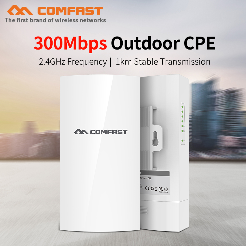 COMFAST CF-E130N 300Mbps Outdoor Mini CPE Wireless Bridge 1KM Stable Transmission WiFi Repeater For Long Range IP Camera Project