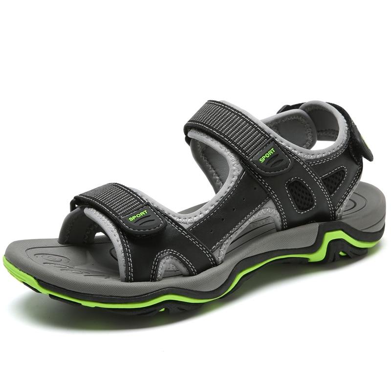 LINGGE/Новинка; модные мужские сандалии; большие размеры 39-45; ; летняя пляжная обувь; повседневные мужские сандалии из натуральной кожи;#2626 - Цвет: Черный
