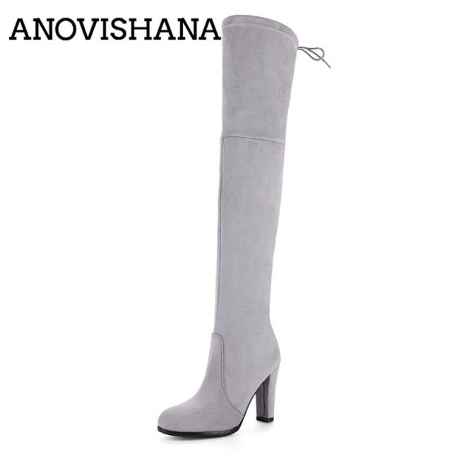a6239856d ANOVISHANA Flock Over the Knee Boots for Women high heels shoes Ladies  autumn winter botas Zipper Lace-up Botties Mujer A763D