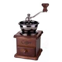 Высокое качество Ретро кофемолка мельница для кофейных зерен ручной ящик мини дерево нержавеющая сталь кофе Ручная Мельница