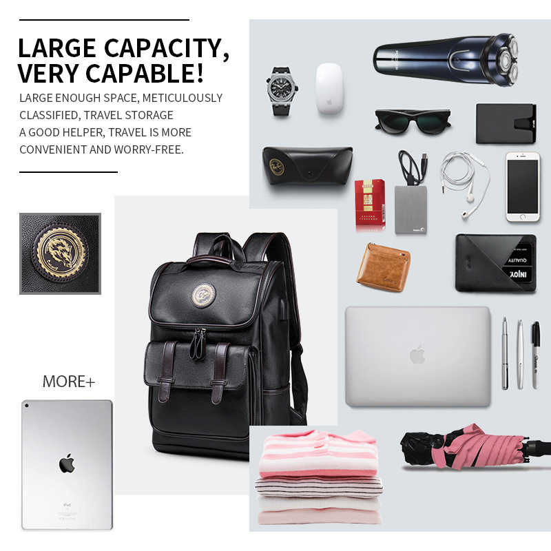 LIELANG mochila de cuero para hombres, mochila de viaje para ordenador portátil de 15 pulgadas impermeable, mochila USB para ordenador portátil, mochila para hombre