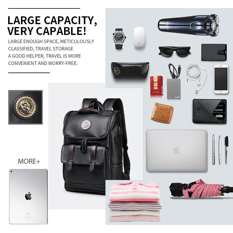 LIELANG sac à dos en cuir hommes ordinateur portable voyage sac à dos 15 pouces étanche sac à dos pour ordinateur portable USB collège Bookbag hommes mochila hombre - 2