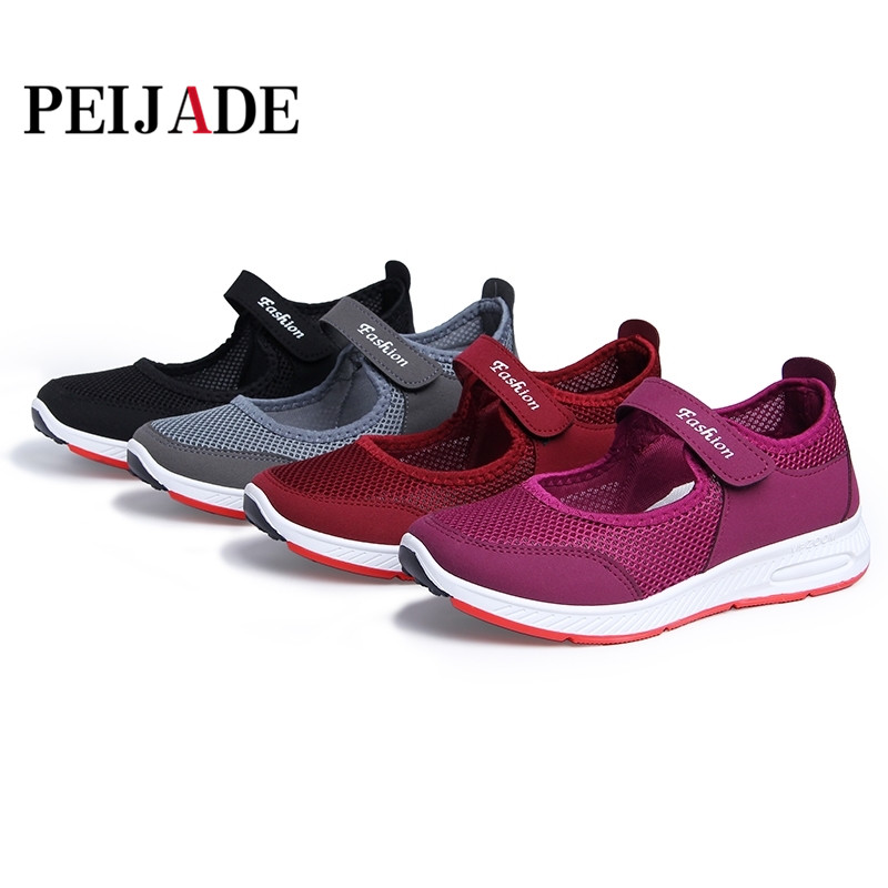 PEIJADE Size 35-41 2018 New Summer women's beach shoes with air mesh sports Sandals Female Leisure Black Flats JH13 instantarts women flats emoji face smile pattern summer air mesh beach flat shoes for youth girls mujer casual light sneakers