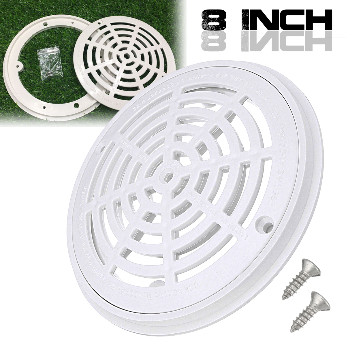 Swimming pool main drain cover 8 inch with 2 screws white - Swimming pool main drain cover replacement ...