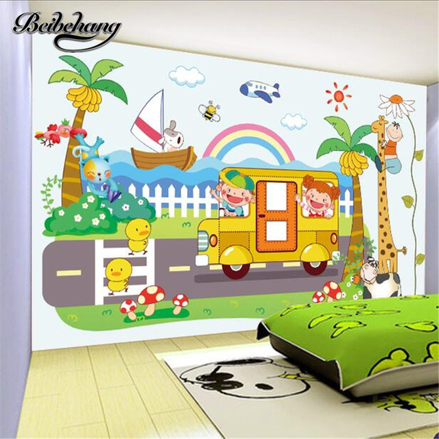 beibehang Large 3d wallboard murals custom living room bedroom decoration painting chicks giraffe children park background wall
