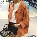 2017 Nuevas Mujeres Harajuku BF Abrigo de Viento Dulces de Mezclilla de Lavado de Arena Color de la chaqueta Jaqueta Feminina FE4512 Banban 4 Colores Del Tamaño S-XL