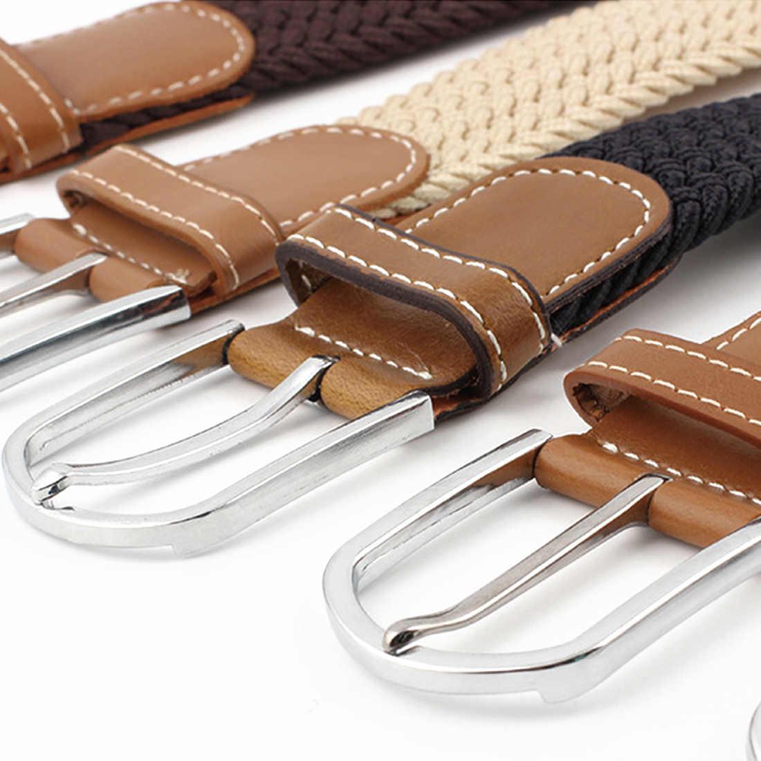 Высокое качество широкий тканый эластичный плетеный кожаный ремешок роскошный холст Расширенный 120 см ремни мужской и женский военный ремень