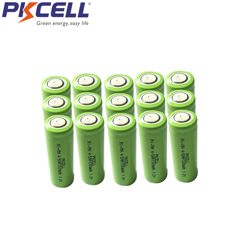 18Pcs PKCELL 4/5AA 1300mah 1.2v NIMH rechargeable battery 4/5 aa 14430 batteries in flat top non PCM in industrial pvc packing image