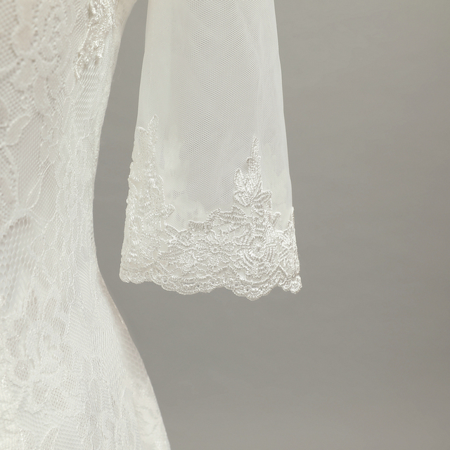 Real Photo Fashionable Mermaid Wedding Dresses Women Half Sleeve Bridal Gown Vestido De Noiva crepe wedding dress
