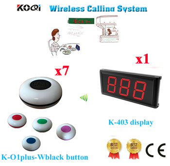 Wireless Waiter Call System K-403 Display With 1 Key Call Button For Restaurant Pager 433.92MHZ(1 Display+7 Call Button)