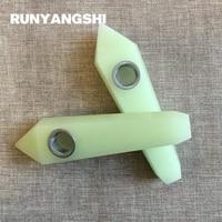 Luminous Stone Smoking Pipe Yellow Manmade Stones and Minerals with Strainer 1 Pc Smoke Pipe Runyangshi YH44