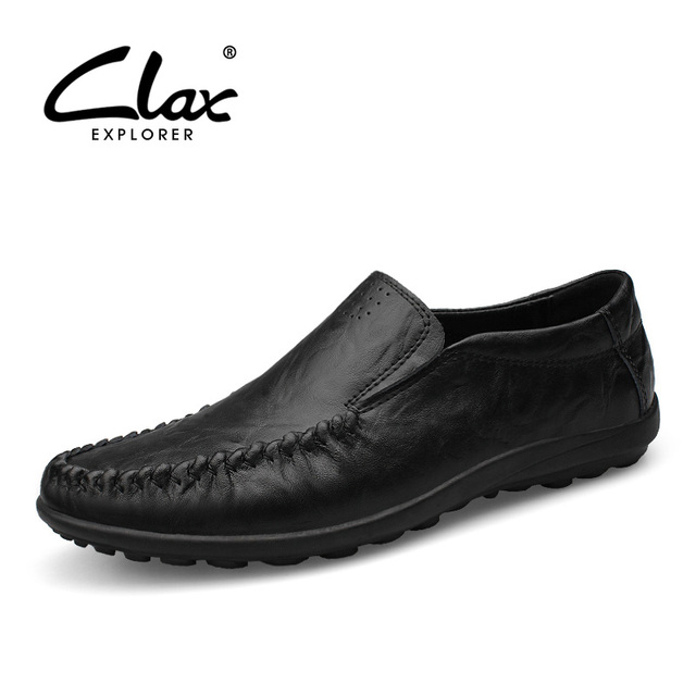 Clax Men s Leather Dress Shoes 2018 Spring Summer Moccasin Male Genuine Leather  Loafers Designers Casual Shoe Comfort Size 45 46 7799887b2e30