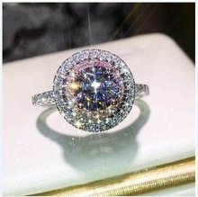 2019 new round holo pink white stone engagement ring for women wedding finger classic brand jewelry R5023