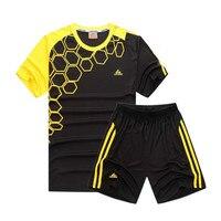 Alta calidad 2017 niños kit de fútbol niños Niños Fútbol Jersey Sets traje de entrenamiento del equipo manga corta Jerséis secado rápido personalizada