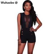 Wuhaobo Summer short playsuit women mesh sleeveless bodysuits 2017 New casual women overalls buttons shorts rompers femme