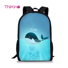 Thikin 2019 New Young Girl Boy Casual Travel Backpack Teenager Kid Popular Shoulder Bag Little Cute Cat Whale Bookbag