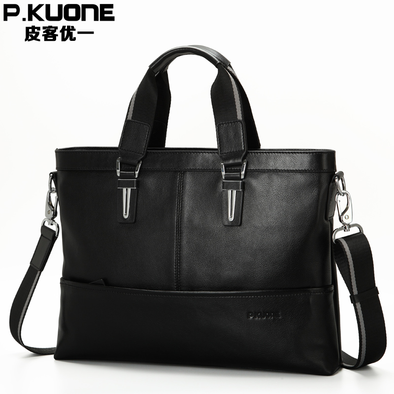 P.KUONE Best Selling Genuine Leather Business Shouder Bags Fashion High Quality Briefcases Messenger Travel Handbag Laptop Bag