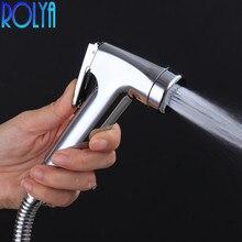 Rolya ручное биде спрей высокого давления воды ABS пластик небольшой ручной душ для ванной комнаты хром shattaf мобильный гигиенический душ для унитаза струи
